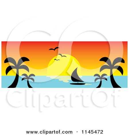 Clipart of a Hawaian Ocean Sunset Website Banner with Palm Trees and a Sailboat 4 - Royalty Free Vector Illustration by Rosie Piter