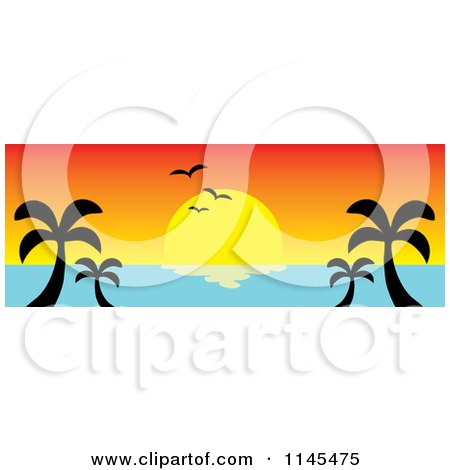 Clipart of a Hawaian Ocean Sunset Website Banner with Palm Trees and Seagulls 2 - Royalty Free Vector Illustration by Rosie Piter