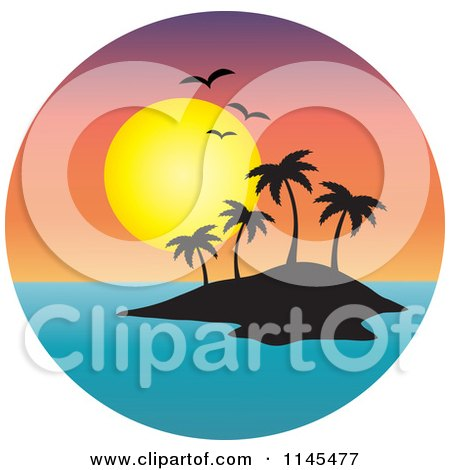 Clipart of a Circle Scene of Gulls and a Sunset over Silhouetted Tropical Island - Royalty Free Vector Illustration by Rosie Piter