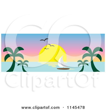 Clipart of a Hawaian Ocean Sunset Website Banner with Palm Trees and a Sailboat 2 - Royalty Free Vector Illustration by Rosie Piter