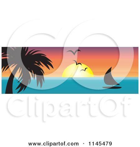 Clipart of a Hawaian Ocean Sunset Website Banner with Palm Trees and a Sailboat - Royalty Free Vector Illustration by Rosie Piter