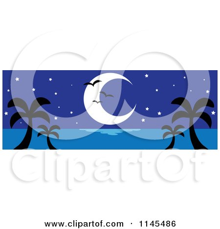 Clipart of a Hawaian Moon with Palm Trees and Seagulls at Night - Royalty Free Vector Illustration by Rosie Piter