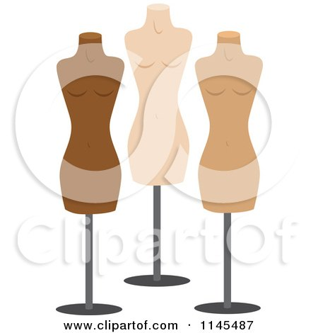 Clipart of Three Fashion Mannequins - Royalty Free Vector Illustration by Rosie Piter