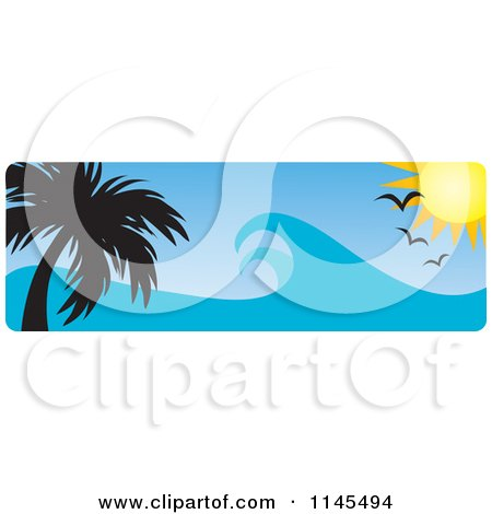 Clipart of a Hawaian Ocean Sunset Website Banner with Palm Trees Gulls and Waves - Royalty Free Vector Illustration by Rosie Piter