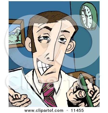 Pushy Salesman Trying to Get Someone to Sign an Agreement Clipart Illustration by AtStockIllustration