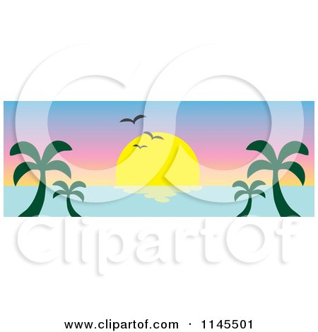 Clipart of a Hawaiian Ocean Sunset Website Banner with Palm Trees and Seagulls 3 - Royalty Free Vector Illustration by Rosie Piter