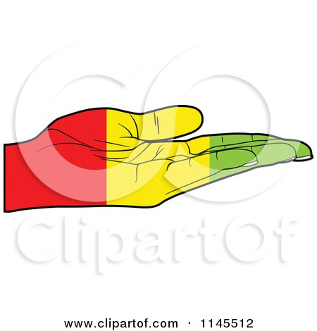 Clipart of a Guinea Flag Hand with Its Palm Facing up - Royalty Free Vector Illustration by Andrei Marincas