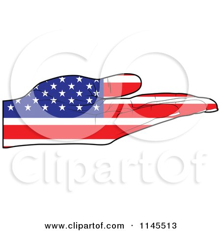Clipart of an American Flag Hand with Its Palm Facing up - Royalty Free Vector Illustration by Andrei Marincas
