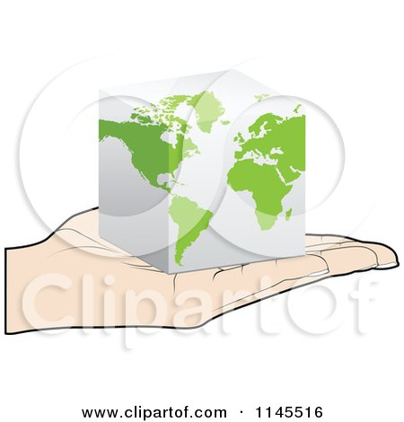 Clipart of a Hand Holding a 3d Cube Map in Its Palm - Royalty Free Vector Illustration by Andrei Marincas