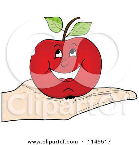 Clipart of a Hand Holding a Happy Apple in Its Palm - Royalty Free Vector Illustration by Andrei Marincas