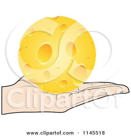 Clipart of a Hand Holding a Cheese Ball in Its Palm - Royalty Free Vector Illustration by Andrei Marincas