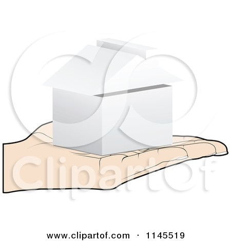 Clipart of a Hand Holding a 3d Box in Its Palm - Royalty Free Vector Illustration by Andrei Marincas
