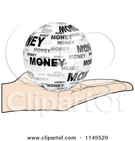 Clipart of a Hand Holding a Money Globe in Its Palm - Royalty Free Vector Illustration by Andrei Marincas