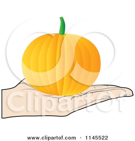 Clipart of a Hand Holding a Pumpkin in Its Palm - Royalty Free Vector Illustration by Andrei Marincas