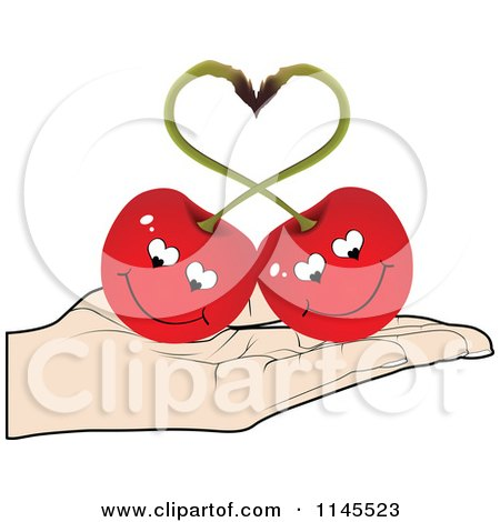 Clipart of a Hand Holding a Cherry Couple in Its Palm - Royalty Free Vector Illustration by Andrei Marincas