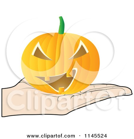 Clipart of a Hand Holding a Jackolantern in Its Palm - Royalty Free Vector Illustration by Andrei Marincas