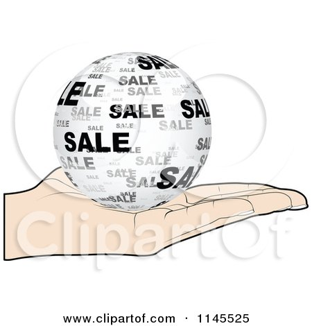 Clipart of a Hand Holding a Sale Globe in Its Palm - Royalty Free Vector Illustration by Andrei Marincas