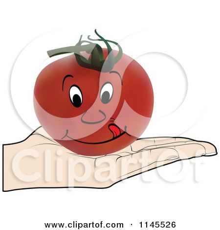 Clipart of a Hand Holding a Hungry Tomato in Its Palm - Royalty Free Vector Illustration by Andrei Marincas