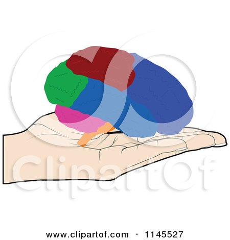 Clipart of a Hand Holding a Brain in Its Palm - Royalty Free Vector Illustration by Andrei Marincas