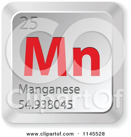 Clipart of a 3d Red and Silver Manganese Element Keyboard Button - Royalty Free Vector Illustration by Andrei Marincas