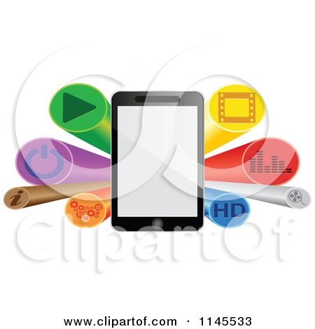 Clipart of a 3d Tablet and Button Burst Banner - Royalty Free Vector Illustration by Andrei Marincas