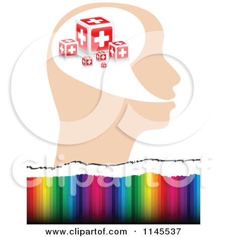 Clipart of a Help Cross Head over Colors - Royalty Free Vector Illustration by Andrei Marincas