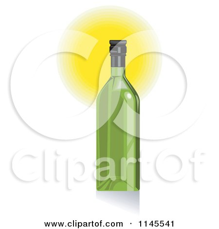Clipart of a Green Wine Bottle and Glowing Light - Royalty Free Vector Illustration by patrimonio