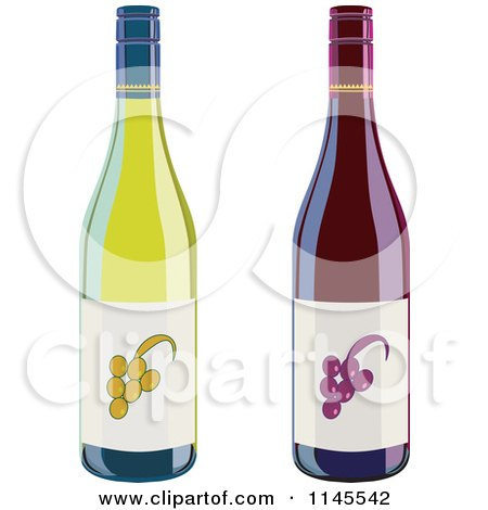Clipart of Red and White Green Wine Bottles - Royalty Free Vector Illustration by patrimonio