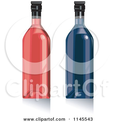 Clipart of Red and Blue Wine Bottles - Royalty Free Vector Illustration by patrimonio