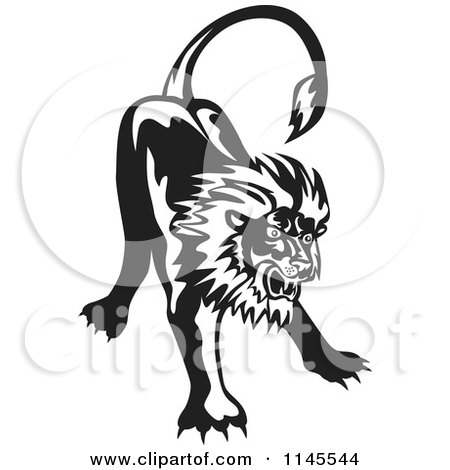 Clipart of a Retro Black and White Angry Lion - Royalty Free Vector Illustration by patrimonio