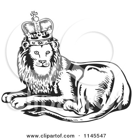 Clipart of a Retro Black and White King Lion - Royalty Free Vector Illustration by patrimonio