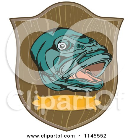 Clipart of a Mounted Large Mouth Bass Fish on a Plaque - Royalty Free Vector Illustration by patrimonio
