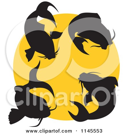 Clipart of Silhouetted Koi Fish over a Yellow Circle - Royalty Free Vector Illustration by patrimonio