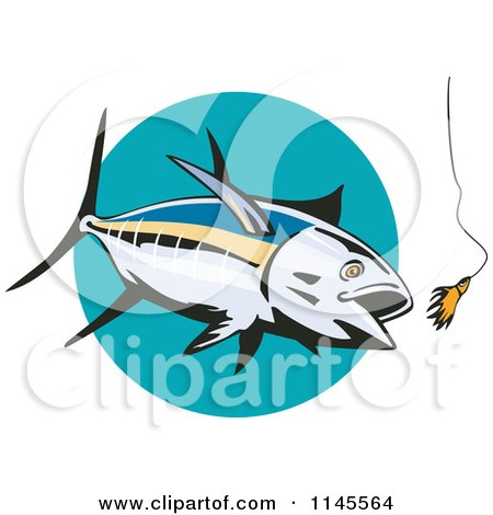 Clipart of an Albacore Tuna Fish Chasing a Lure 1 - Royalty Free Vector Illustration by patrimonio