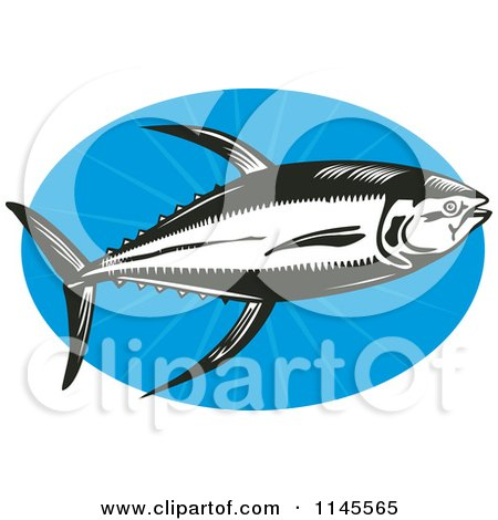 Clipart of a Black and White Retro Yellowfin Tuna Fish over Blue - Royalty Free Vector Illustration by patrimonio