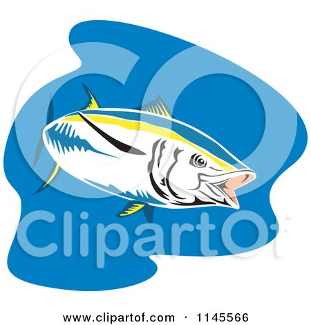 Clipart of a Yellowfin Tuna Fish over Blue - Royalty Free Vector Illustration by patrimonio