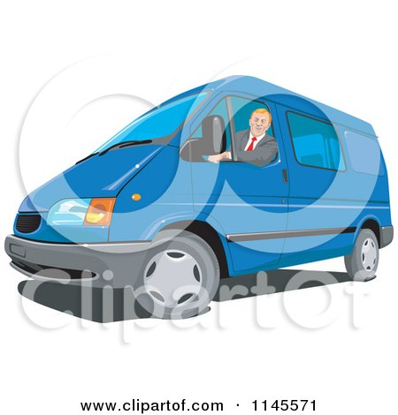 Clipart of a Man Driving a Blue Van - Royalty Free Vector Illustration by patrimonio