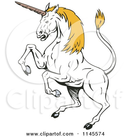 Clipart of a Rearing White Unicorn with Yellow Hair - Royalty Free Vector Illustration by patrimonio