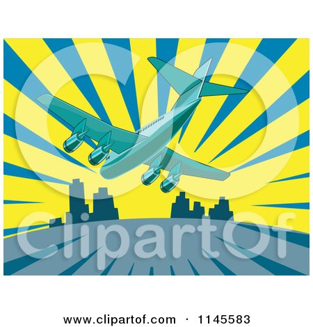 Clipart of a Flying Commercial Airplane over a City and Rays - Royalty Free Vector Illustration by patrimonio