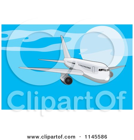 Clipart of a Flying White Commercial Airplane in a Blue Sky - Royalty Free Vector Illustration by patrimonio