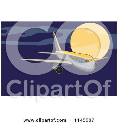 Clipart of a Flying White Commercial Airplane in a Night Sky - Royalty Free Vector Illustration by patrimonio