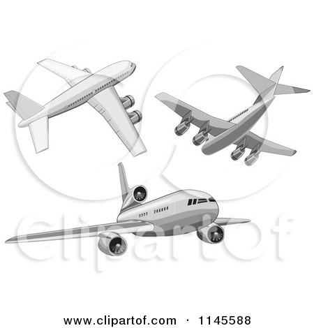 Clipart of Flying White Commercial Airplanes - Royalty Free Vector Illustration by patrimonio