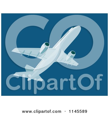 Clipart of a Flying White Commercial Airplane in a Dark Blue Sky - Royalty Free Vector Illustration by patrimonio