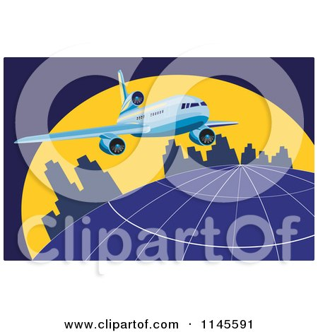 Clipart of a Flying Commercial Airplane over an Urban Globe - Royalty Free Vector Illustration by patrimonio