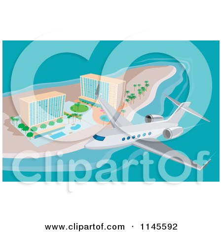 Clipart of a Plane Flying over Island Beach Resort Hotels - Royalty Free Vector Illustration by patrimonio