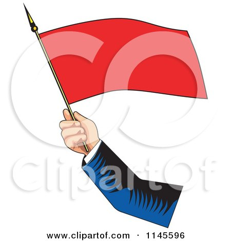 Clipart of a Retro Hand Waving a Red Flag - Royalty Free Vector Illustration by patrimonio