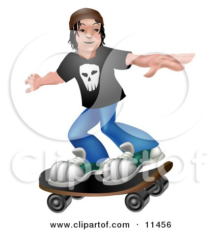 Young Man Holding His Arms Out to Maintain Balance While Skateboarding Posters, Art Prints