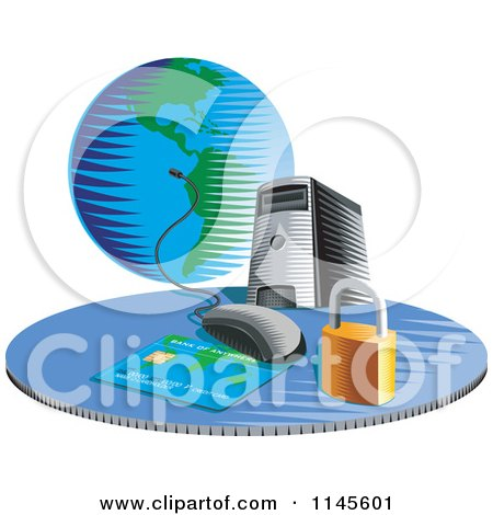 Clipart of a Desktop Computer with a Credit Card Globe and Security Padlock - Royalty Free Vector Illustration by patrimonio