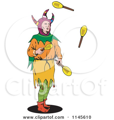 Clipart of a Jester Juggling Paddles - Royalty Free Vector Illustration by patrimonio