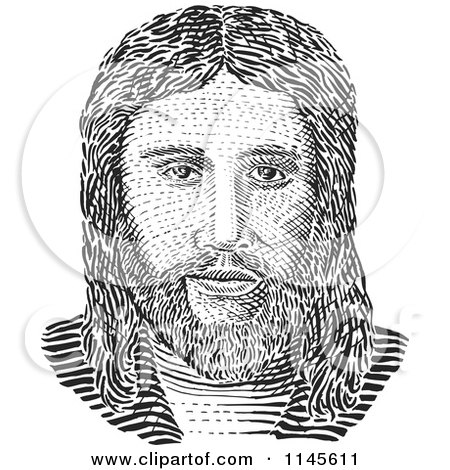 Clipart of a Black and White Jesus Engraving - Royalty Free Vector Illustration by patrimonio